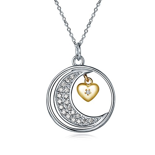 (YJEdward 925 Silver Moon Simulated Diamond Necklace Fashioon Pendant Fall in Love Gift For Girl Her)