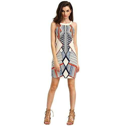 7ce609aa241 ROMWE Women s Cutaway Sleeveless Geometric Print Party Dress new ...