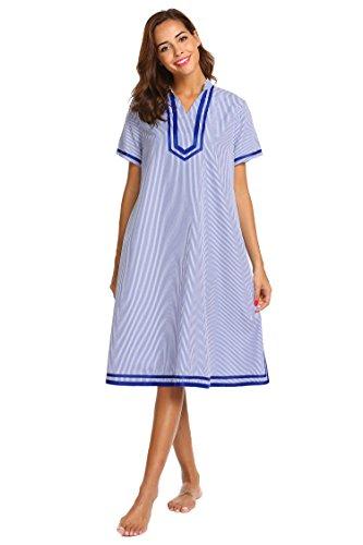 (Ekouaer Women's Sleepwear Casual Lounge House Dres Short Sleeve Nightgown, Navy, XX-Large)