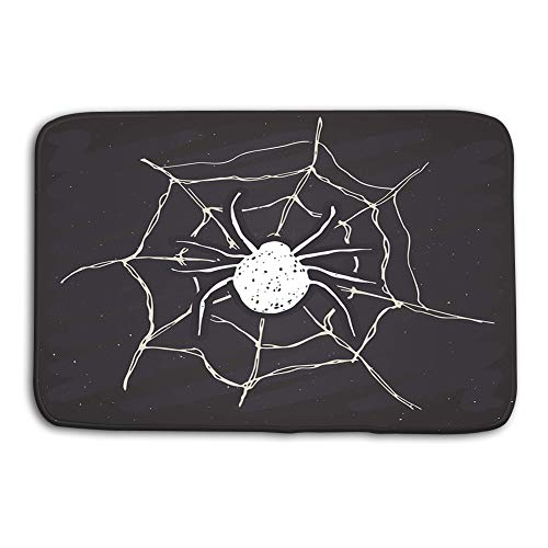 Washable Fabric Placemats for Dining Room Kitchen Table Decor Multicolor 24 W X 16 W Inches spider web vintage label hand drawn sketch halloween greeting card grunge textured retro badge typography -