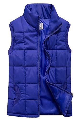 Slim EKU Stand Outerwear Lightweight Blue Vest Women's Padded Fit Collar Jacket Down IUxHqBwU4
