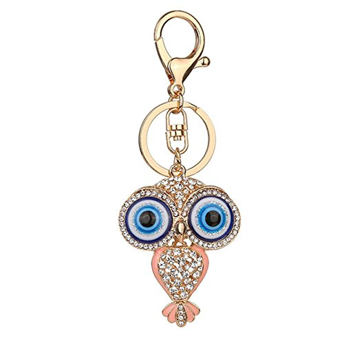 (Muzuri Feng Shui Talisman Nazar Big Eyes Cute Owl Blue Evil Eye Key Ring/Key Chain Bag Pendant Accessories for Protection + Free Handmade Luck Red String Bracelet (Pink))