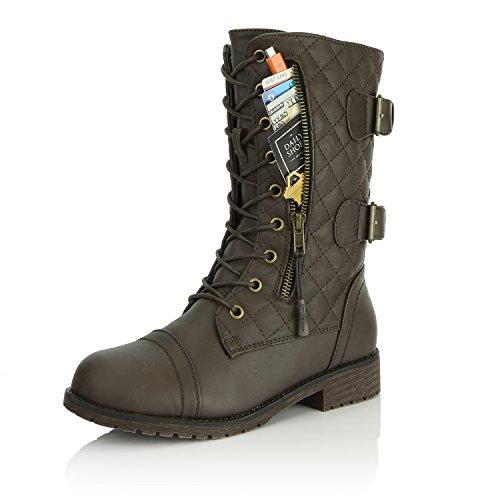Dailyshoes Womens Militaire Lace Up Boucle Bottes De Combat Mi Genou Haute Exclusive Matelassé Carte De Crédit Poche Matelassé Brun Pu