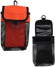 Baosity 2Pcs Heavy Duty Dive Finger Spool Reel & SMB Safety Marker Buoy Mesh Gear Bag Carrier Pouch &