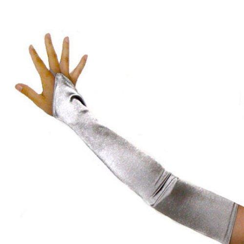 SACAS Long Fingerless Satin Gloves in Silver