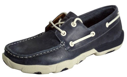 Twisted X Boots Women's Leather 2-Eye Driving Moc,Blue Bomber Leather,US 6 - Moc Eye 2
