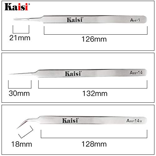 Kaisi Precision Tweezers Set, 3 PCS Stainless Steel Tweezers Kit Curved Tweezers for Craft, Jewelry, Electronics, Laboratory Work by Kaisi (Image #3)