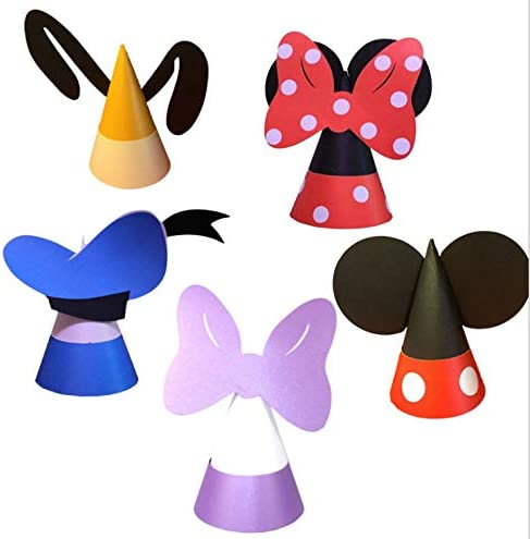 16 Pcs Mickey and Minnie Hats for Birthday Party Theme Park Costume Play Celebration for Boys and Girls