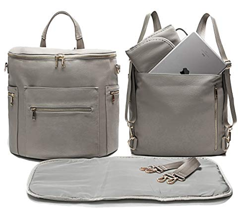 Leather Diaper Bag Backpack by MF Store, Diaper Backpack with Laptop Sleeve,Changing Pad,Wipes Pouch,Diaper Bag Organizer,Stroller Straps and Insulated Pockets (Light Grey)