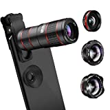 AFAITH Upgraded Phone Camera Lens, 5 in 1 Phone Lens Kit -12X Zoom Telephoto Lens + 0.36X Wide Angle+ 180° Fisheye Lens+ Dual 15X Macro Lens for iPhone X/XS/8/8P/7/6, Samsung S10/S10+/S9/S8/S6