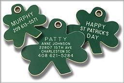 Pet ID Tag - Shamrock- Custom engraved dog & cat ID tags. Pet safety tag has reflective coating.