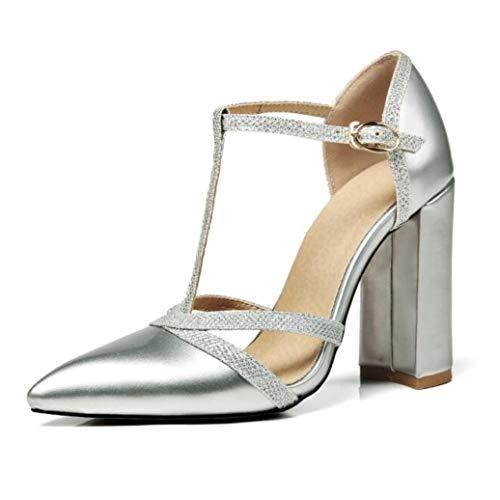 OTOSU Women's Sexy High Chunky Heel Sandals Pointed Toe Glitter T Strap Buckle Block Heel Dress Wedding Sandals Silver (920 Jelly)