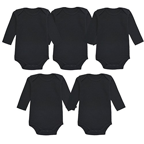 Enfants Chéris 5-Pack Newborn Baby Girls&Boys Onesies Cotton Long Sleeve Bodysuit