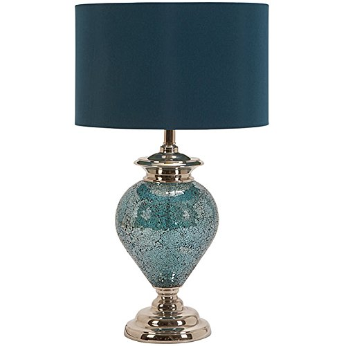 Casa Cortes Handcrafted Artisan Metal Mosaic Blue Table Lamp - 60-watt maximum bulb