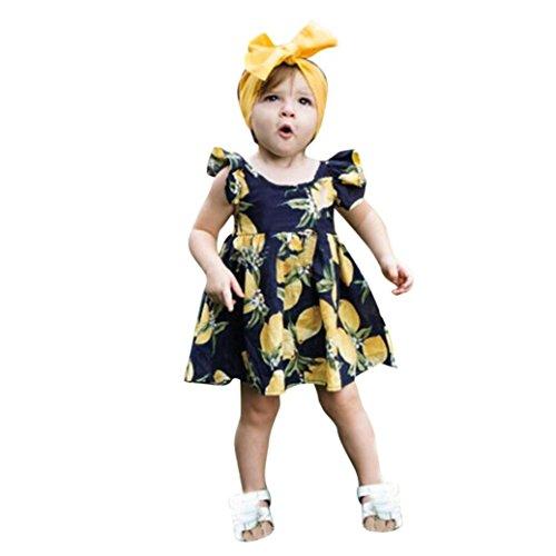 Lemon Mustard (Goodlock Newborn Infant Fashion Clothes Set Baby Girls Lemon Print Zip Princess Dress+Headband Outfits Set 2Pcs (Size:12M))