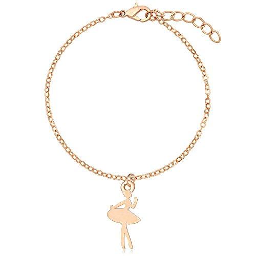 MANZHEN Charm Ballet Dance Ballerina Dancer Bracelet Girls Recital Gift (rose gold) ()