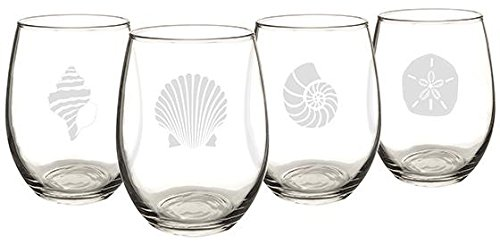 Seashell Stemless Wine Glasses Set Of 4, SET OF 4, CLEAR GLA