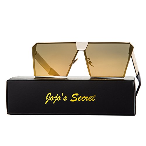 JOJO'S SECRET Oversized Square Sunglasses Metal Frame Flat Top Sunglasses JS009 (Gold/Gold, - Women Sunglasses For Top 10