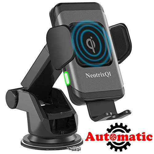 NeotrixQI Wireless Car Charger Mount, Automatic Clamping Induction Qi Fast Charging Car Mount Air Vent Dashboard Phone Holder 7.5W for iPhone Xs Max/XR/Xs/X/8 Plus, 10W for Samsung Galaxy S9 /S8 Plus