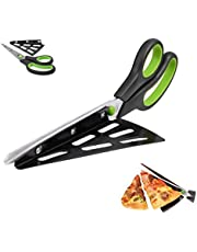2 in 1 Non-Stick Pizza Scissor with Tray Stainless Steel Pizza Cutter Sharp Pastry Slicer Pasta Tool Kitchen Food Serving Gadgets, Red 10.8 inch (Green)