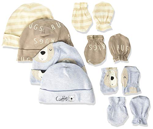 Gerber Baby Boys 8-Piece Organic Cap and Mitten Set, bear hugs, 0-6 Months
