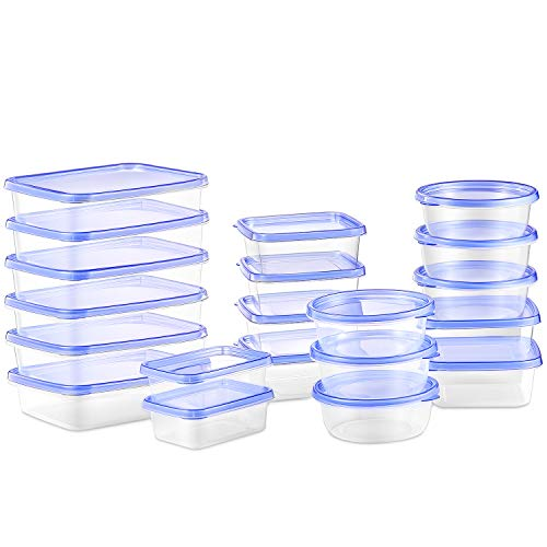 Deik Food Storage Containers, BPA-Free Plastic Lunch Containers Safe for Dishwasher, Freezer, Microwave, FDA Approved (20 ()