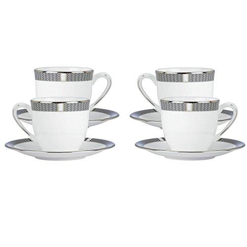 Lenox Silver Sophisticate Demitasse Cup & Saucer, Set of 4