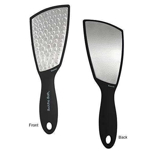 - NEW! Buddha Bath Ultimate Foot File - Therapeutic - Great Wet and Dry - Dual Sided - Long Lasting Stainless Steel Extra Large Head Foot Rasp, Removes Callus. (Black)
