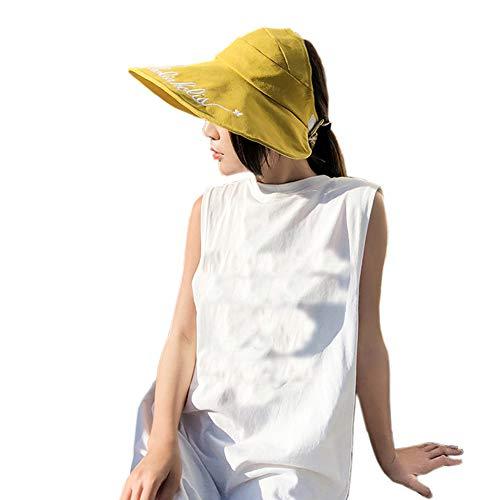 (Women's Outdoor Wide Brim Visor Foldable UV Protection Sun Hat Adjustable Beach Summer Hats Yellow)