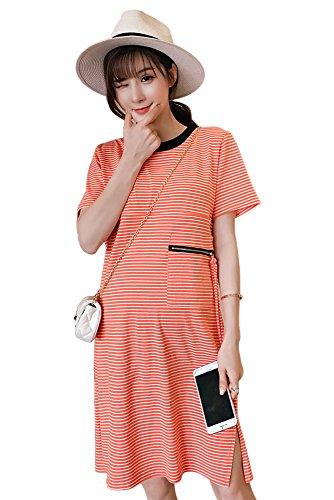 BOZEVON Vestito da donna casual da Premaman allattamento al seno Arancione