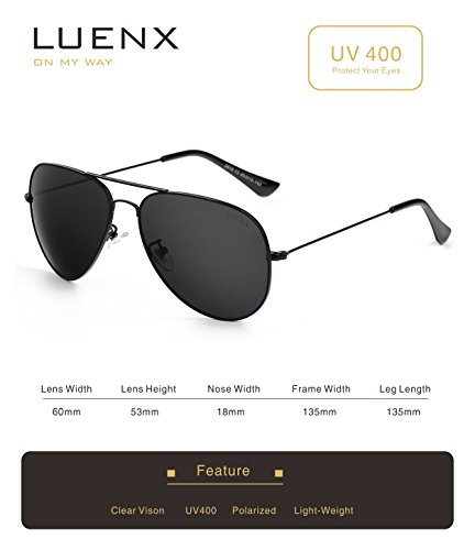 10c496a5f0c Luenx Men Aviator Sunglasses Polarized
