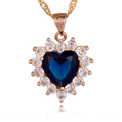 Gem Crystal 14k Pendant (Bouyapei platinum-plated or 18K Gold-Plated Heart of ocean Blue Quartz Crystals Love Heart Shape Gemstone Pendants Necklaces for Women Girls)