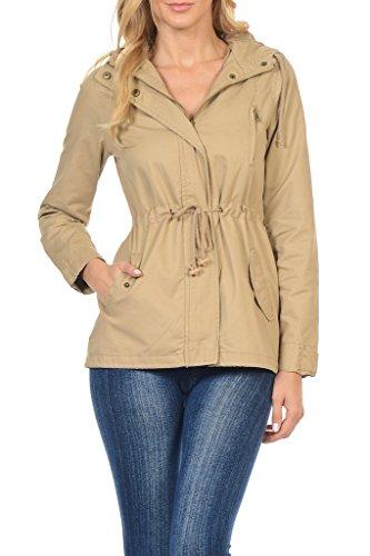 Women's Versatile Military Safari Utility Anorak Street Fashion Hoodie Jacket Khaki Small