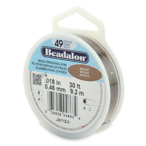 Beadalon 49-Strand Bead Stringing Wire, 0.018-Inch, Bronze, 30-Feet