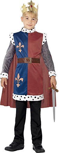 Smiffy's Children's King Arthur Medieval Costume, Tunic, Cape & Crown, Ages 7-9, Size: Medium, Color: Multi, (King Fancy Dress Child)