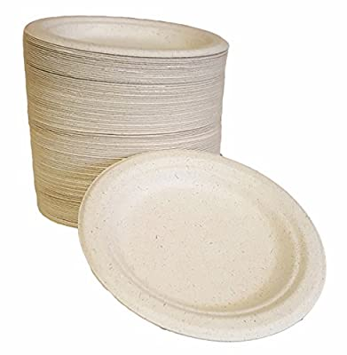 "100% compostable and biodegradable, 6"" DISPOSABLE PLATES - (125 COUNT), made from bamboo & sugar cane , excellent strength"