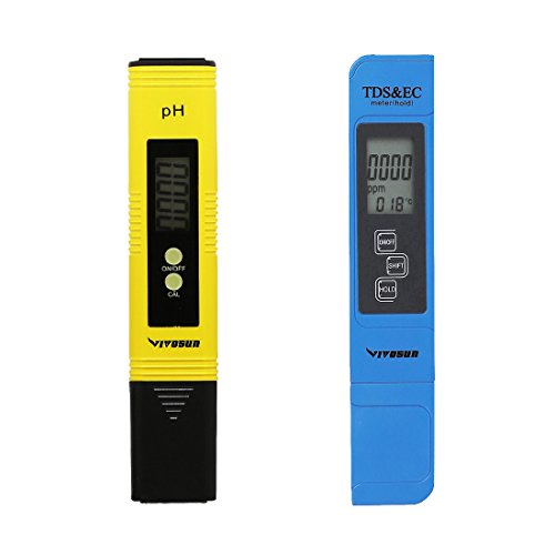 Temperature Readout - VIVOSUN pH & TDS Meter Combo, 0.05ph High Accuracy Pen Type pH Meter & +/- 2% Readout Accuracy 3-in-1 TDS EC Temperature Meter