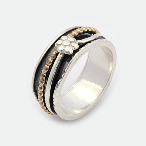 Gold Handcrafted Designer Ring - Silver flower spinner meditation ring sizes 6 to 9