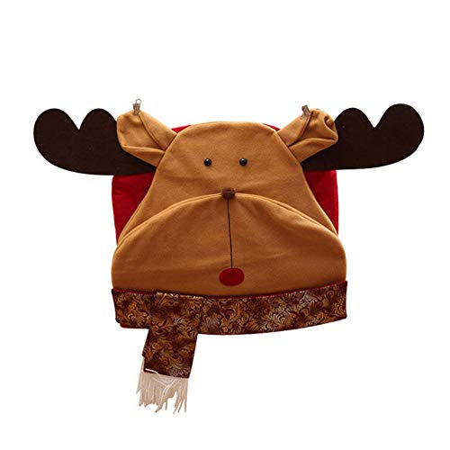 Wintefei Cute and Durable Santa Snowman Elk Shaped Chair Cover Christmas Furniture Dress Up Xmas Decor -