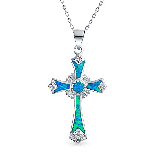 Created Blue Opal CZ Christian Eternal Circle Cross Pendant Necklace For Women 925 Sterling Silver October Birthstone