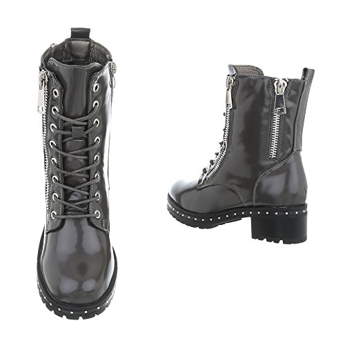 Ital-Design Schnürstiefeletten Damenschuhe Schnürstiefeletten Blockabsatz Blockabsatz Reißverschluss Stiefeletten Grau A-40-1