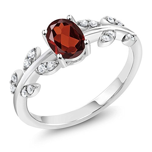 1.01 Ct Oval Red Garnet White Diamond 10K White Gold Olive Vine Ring (Size 7) (Garnet Ring White Gold Jewelry)