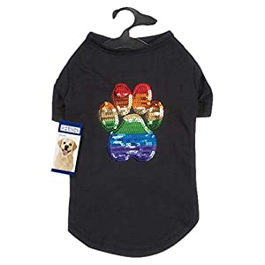 Casual Canine Puppy Pride Sequin UPF40 Tee Shirt for Dogs, Small, Black