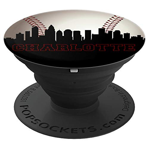 North Carolina Baseball Charlotte Skyline Art NC Souvenirs - PopSockets Grip and Stand for Phones and - Baseball Charlotte