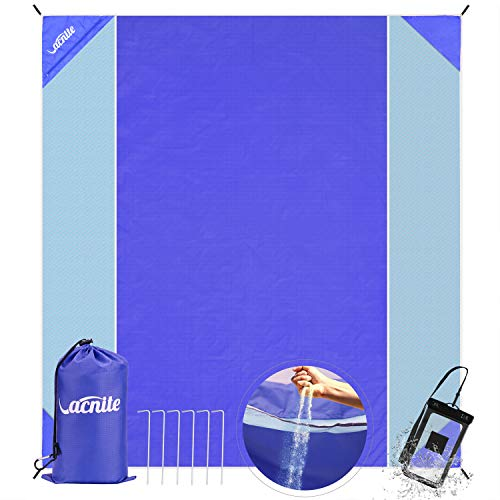 VACNITE Beach Blanket Sand Free and Waterproof Combined - Large Beach Mat with 6 Metal Stakes+4 Sand Pockets for Double Windproof - Double Layer of Mesh, Fast Dry, Strong Nylon, Easy Clean, 83''x 91''