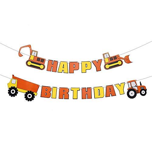 Weimaro Construction Vehicle Happy Birthday Banner Party Supplies, Baby Boy Toddler Kids Birthday Truck Decorations -