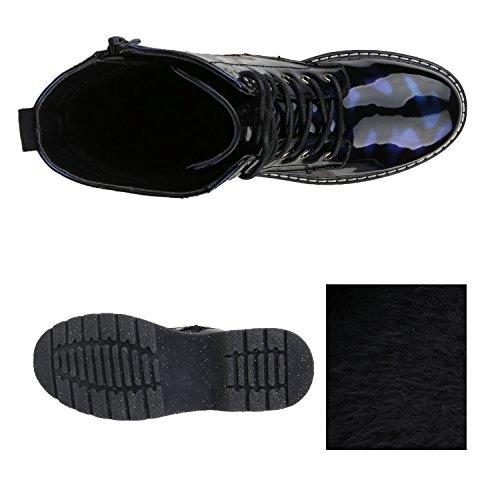 1ca51e41fc8d ... Stiefelparadies Damen Worker Boots Gefütterte Stiefeletten Leder-Optik  Schuhe Flandell Blau Lack