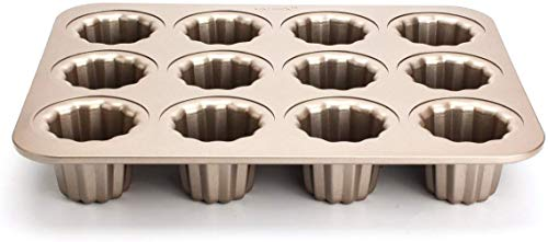 12-holte Cannele Mould – GOODCHANCEUK Carbon Steel Nonstick Cupcake Mallen 12 Cup Muffin Mallen Canneles Tin Golden…