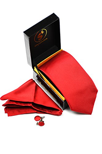 SEXYSANDBOX Scarlet Red Men's Solid Color Silk Tie Pocket Square Cufflinks Set in Gift Box