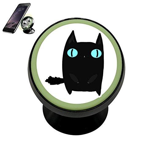 PG-Gai Fat Black Cat Universal Magnetic Car Mount - Ultra-Compact 360 Rotation Phone Holder Dashboard Mount ()